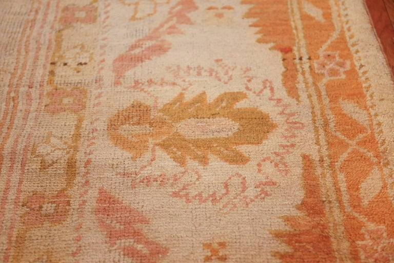 Wool Antique Turkish Oushak Rug For Sale