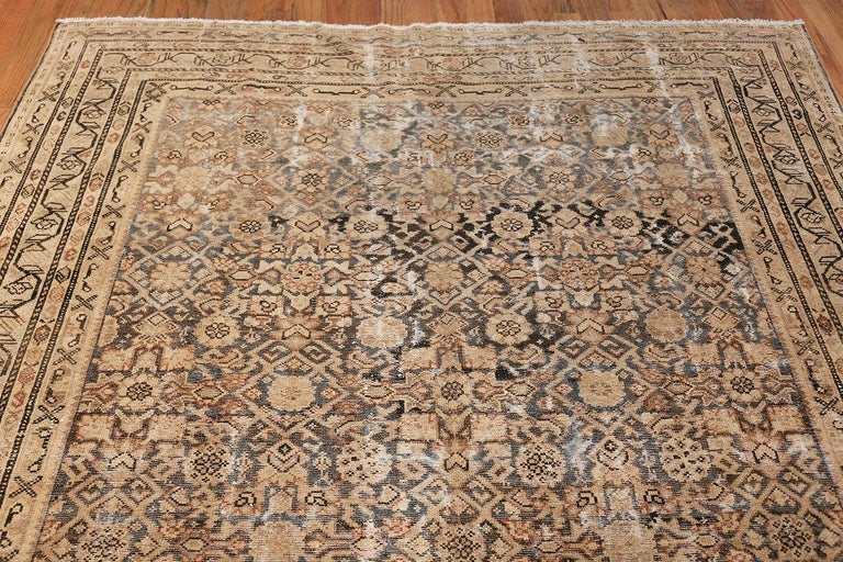 Antique Persian Shabby Chic Malayer Wide Hallway Gallery Rug In Distressed Condition For Sale In New York, NY