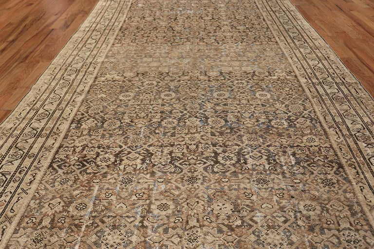 20th Century Antique Persian Shabby Chic Malayer Wide Hallway Gallery Rug For Sale