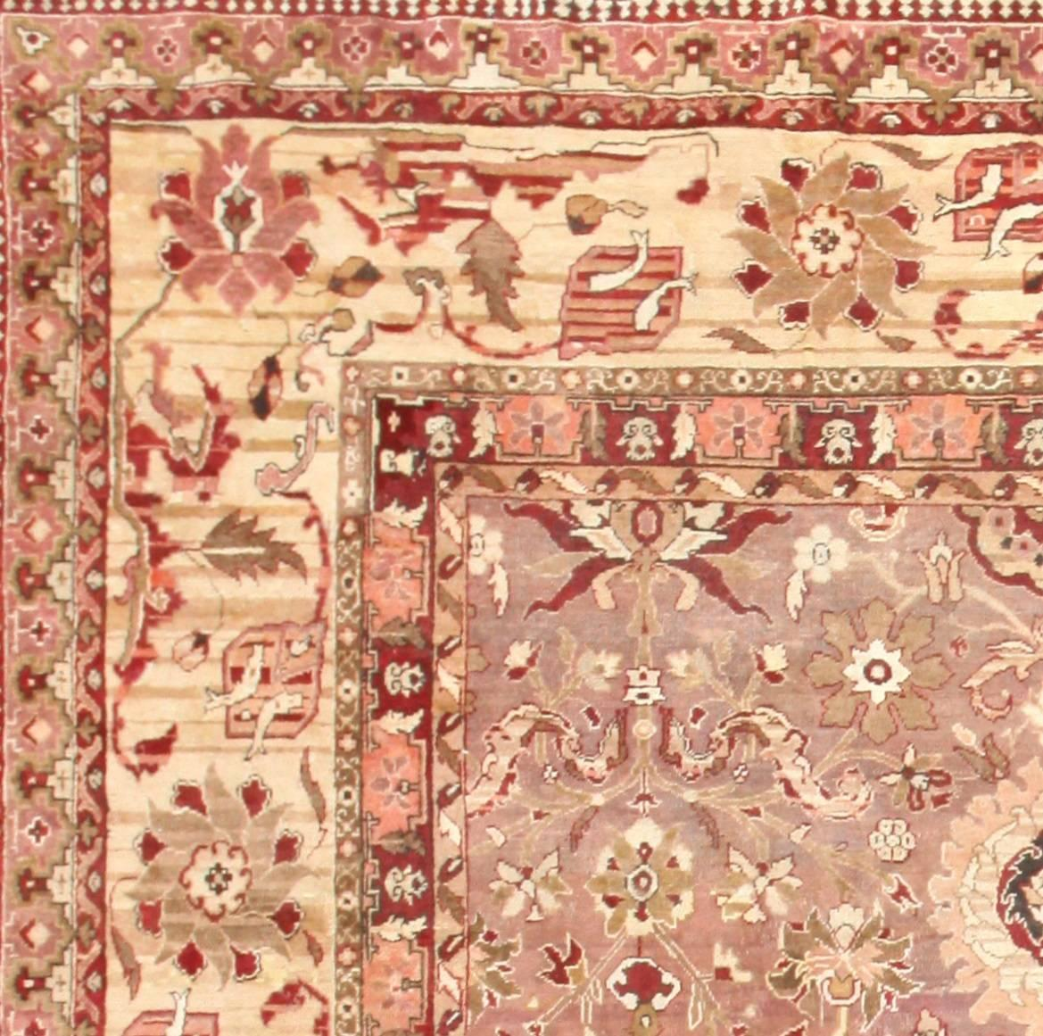 British India Rug: Large Square Antique Indian Agra Rug For Sale At 1stdibs