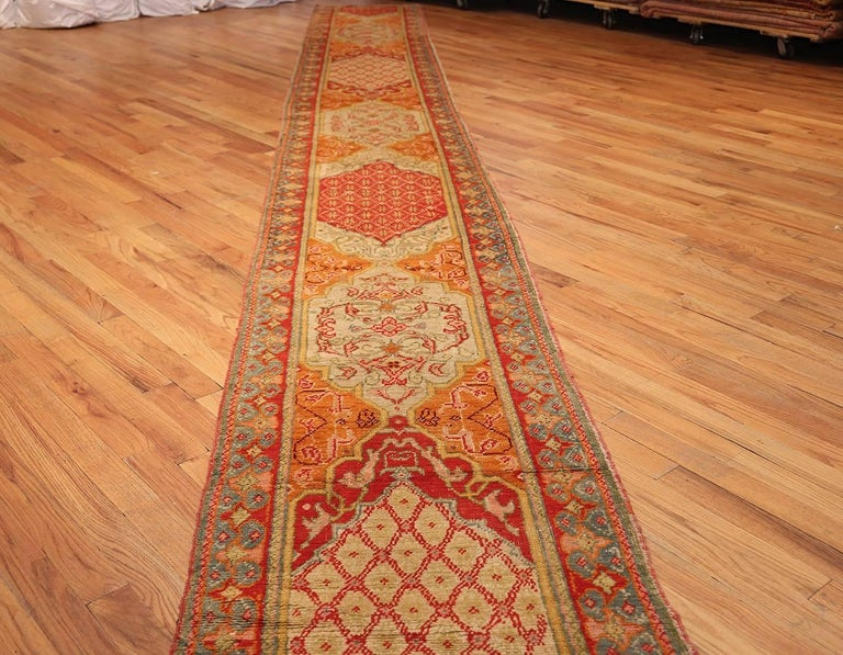 Antique arts and crafts turkish oushak runner rug for sale for Arts and crafts carpet
