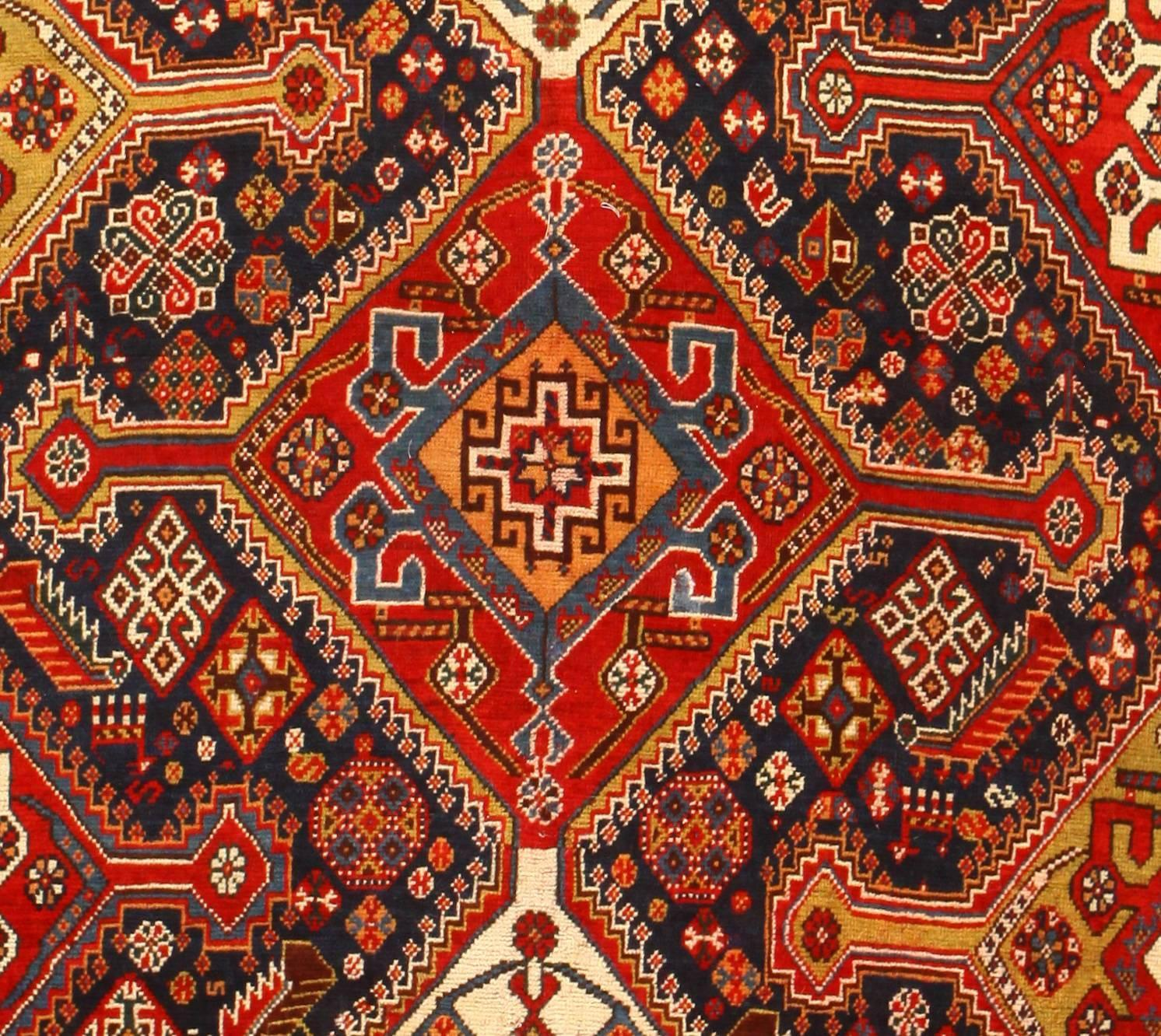 Persian Tribal Rugs: Burgondy Tribal Antique Persian Qashqai Rug At 1stdibs