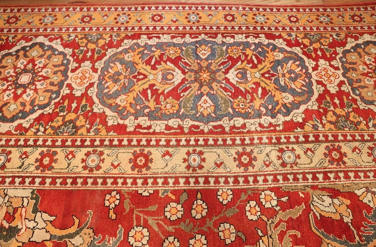 Hand-Knotted Antique Agra Carpet For Sale