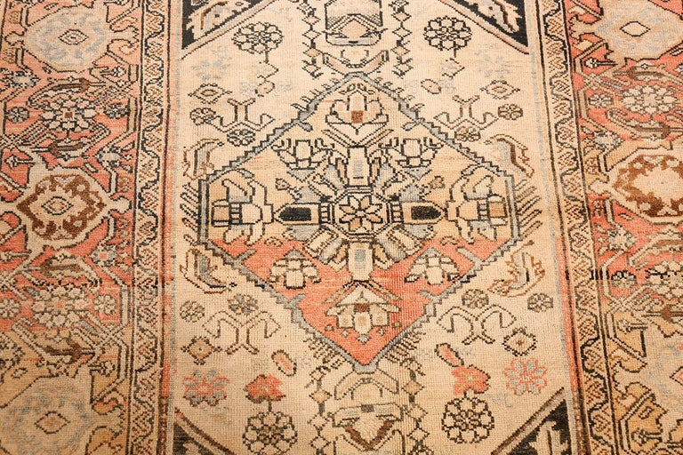 Hand-Knotted Small Antique Persian Malayer Rug For Sale