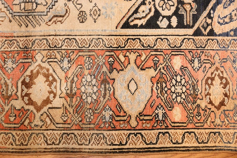 Wool Small Antique Persian Malayer Rug For Sale