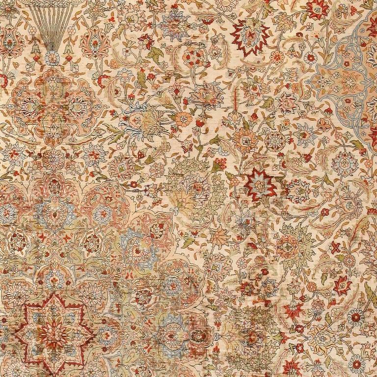 Hereke Silk Rug Youtube: Vintage Silk Turkish Hereke Rug For Sale At 1stdibs