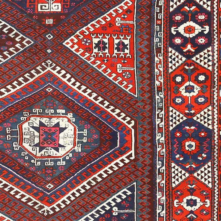 Hand-Knotted Tribal Turkish Bergama Rug For Sale