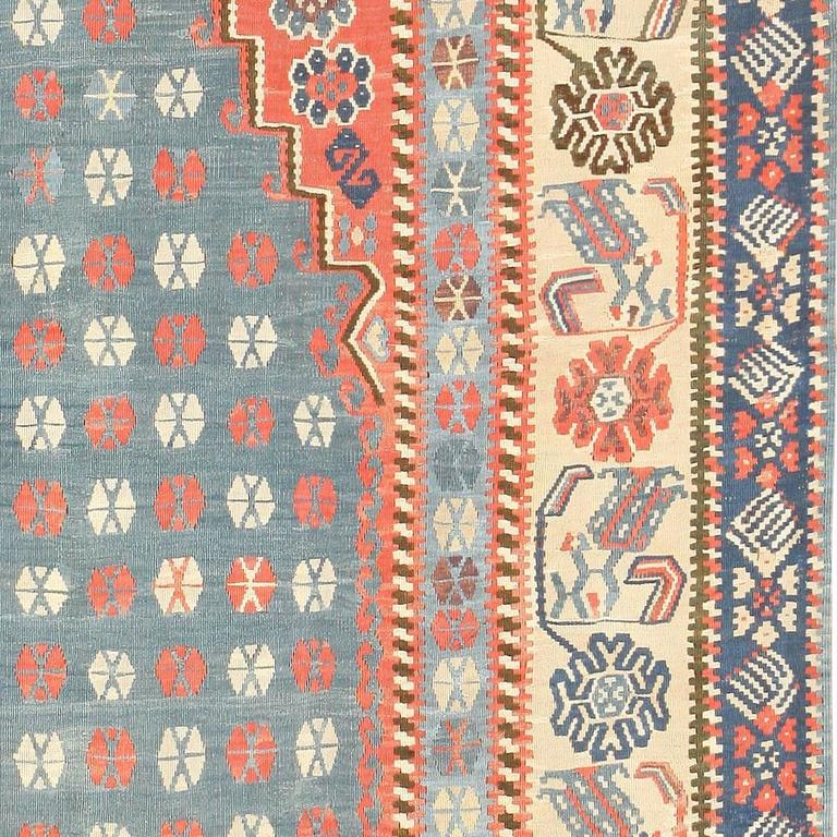 Hand-Knotted Antique Turkish Kilim Rug For Sale