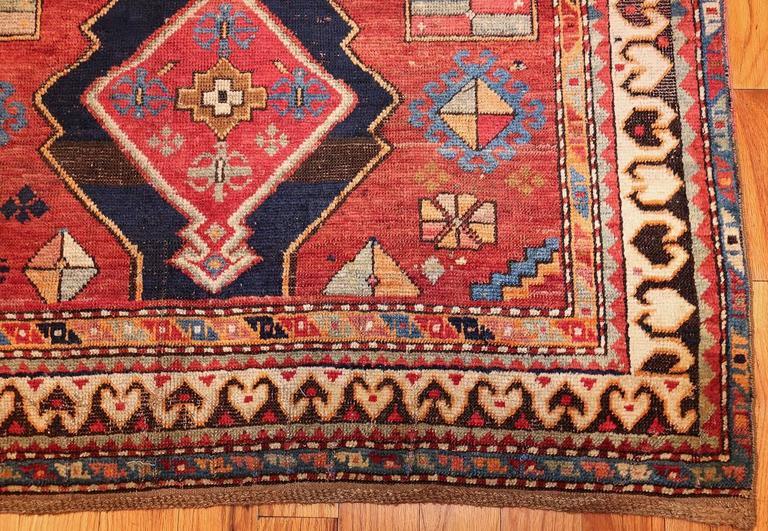 Antique Tribal Square Caucasian Kazak Rug At 1stdibs
