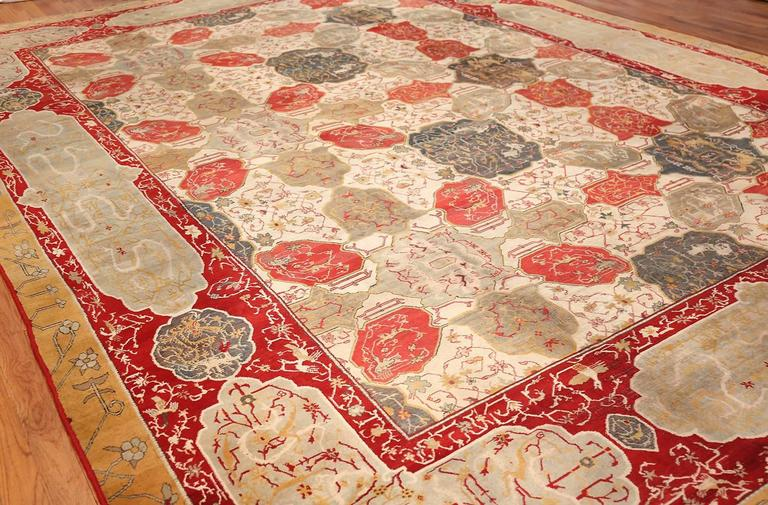 Antique Ivory Room Size Indian Agra Rug 5