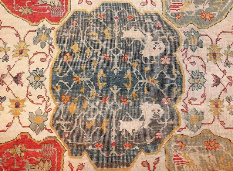Antique Ivory Room Size Indian Agra Rug 4