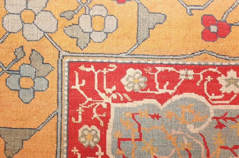 Antique Ivory Room Size Indian Agra Rug 6