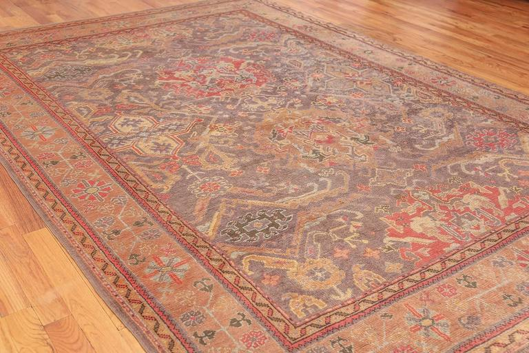 Hand-Knotted Antique Turkish Oushak Rug For Sale