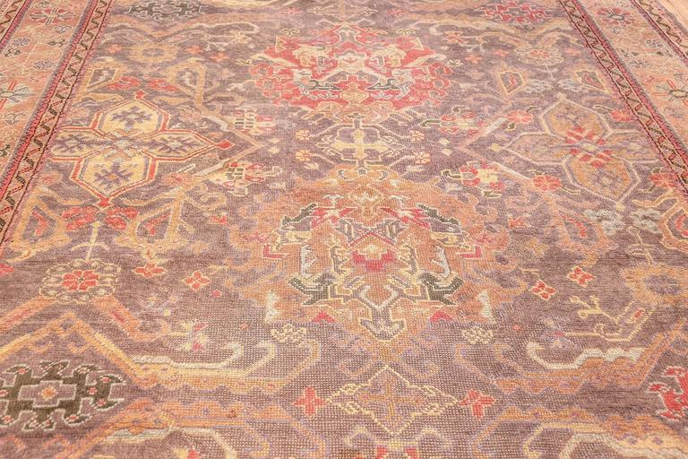 Wool Antique Turkish Oushak Rug For Sale