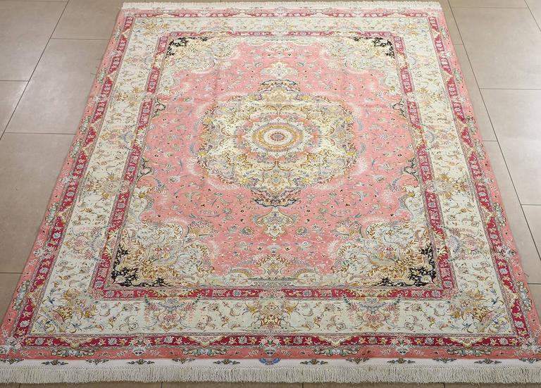 Hand Knotted Fine Shadkam Vintage Tabriz Persian Rug For