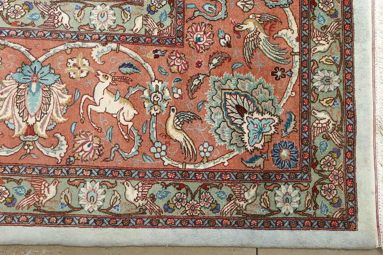 Fine Animal Motif Vintage Tabriz Persian Rug For Sale At