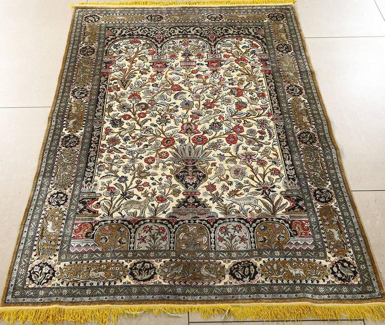 Fine Tree Of Life Design Vintage Silk Souf Qum Persian Rug For Sale