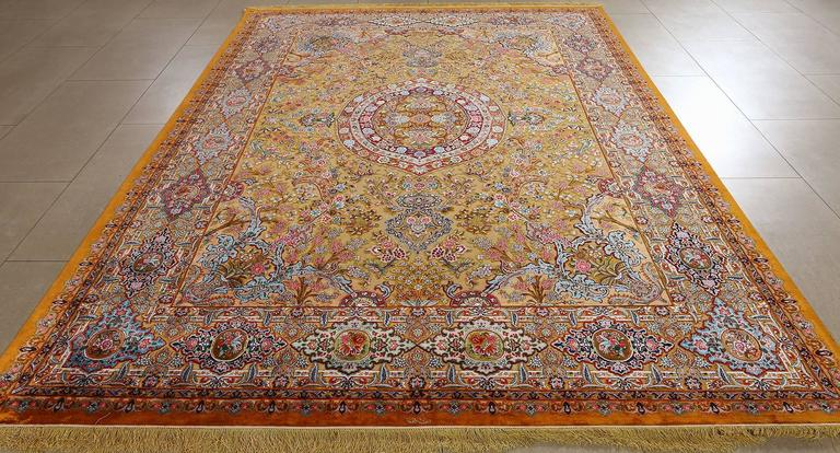 Hand Knotted Fine Silk And Gold Thread Vintage Tabriz Persian Rug For Sale