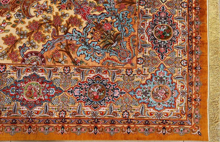Fine Silk And Gold Thread Vintage Tabriz Persian Rug For Sale 3