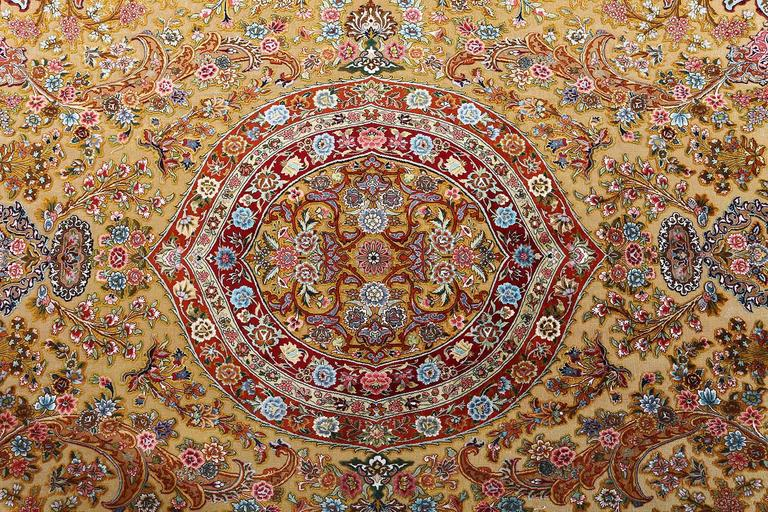 Fine Silk And Gold Thread Vintage Tabriz Persian Rug For Sale 5
