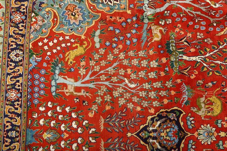 Fine Animal Motif Vintage Tabriz Persian Rug For Sale At