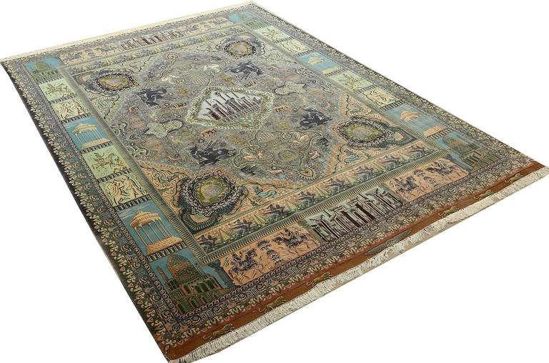 Hand-Knotted Pictorial Vintage Tabriz Persian Rug For Sale