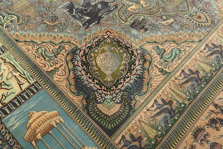 Pictorial Vintage Tabriz Persian Rug For Sale 2