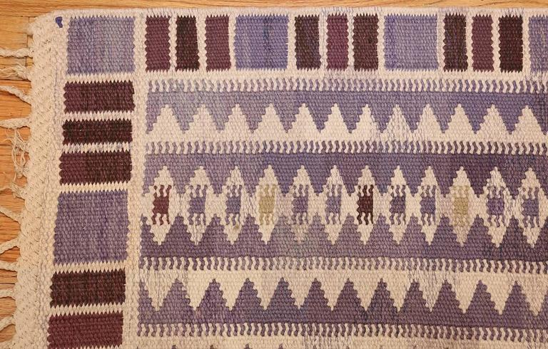 Vintage Scandinavian Swedish Kilim by Marta Maas In Excellent Condition For Sale In New York, NY