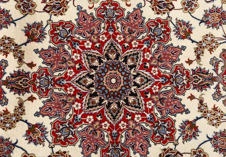 Hand-Knotted Ivory Vintage Isfahan Persian Rug For Sale
