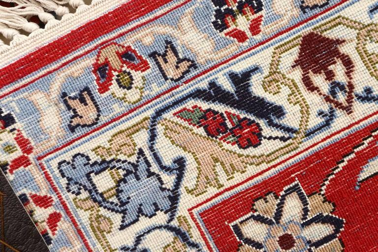 Wool Ivory Vintage Isfahan Persian Rug For Sale