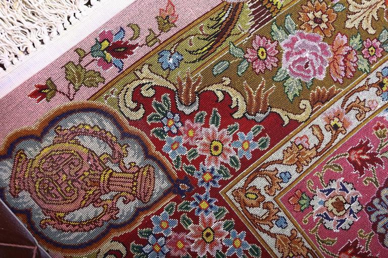 Hand-Knotted Oversized Hunting Scene Vintage Tabriz Persian Rug For Sale