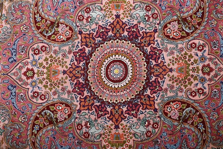 Oversized Hunting Scene Vintage Tabriz Persian Rug 5