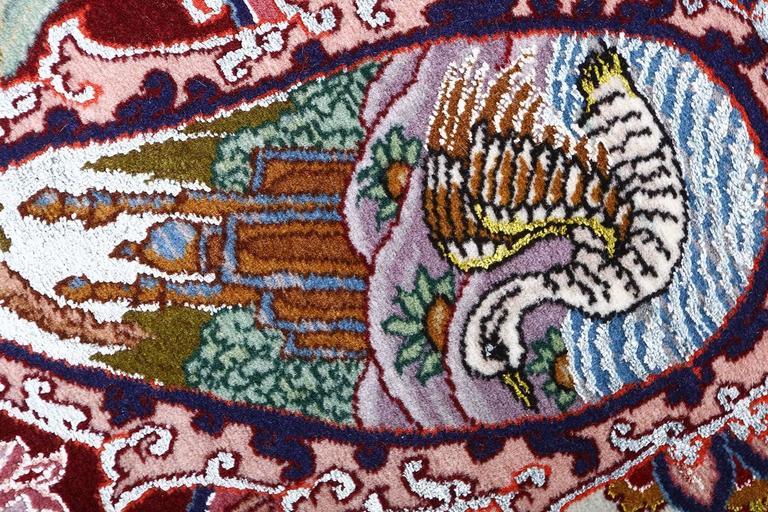 Oversized Hunting Scene Vintage Tabriz Persian Rug 8