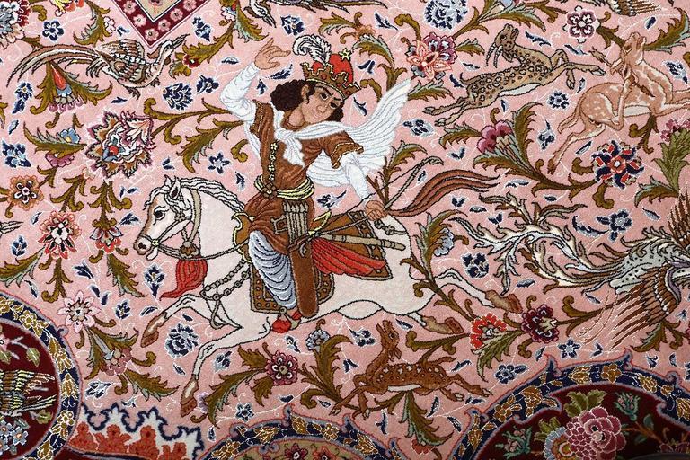 Oversized Hunting Scene Vintage Tabriz Persian Rug 9
