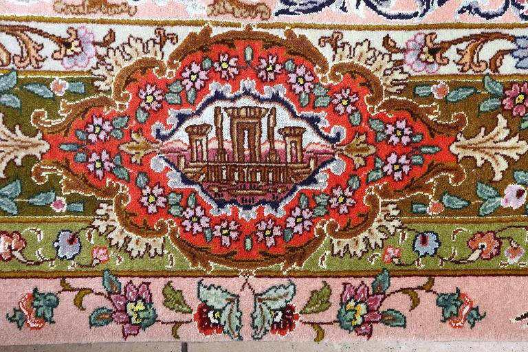 Oversized Hunting Scene Vintage Tabriz Persian Rug For Sale 4