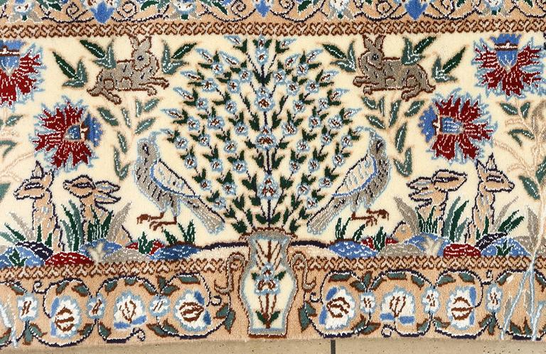 Tree of Life Design Vintage Nain Persian Rug 3