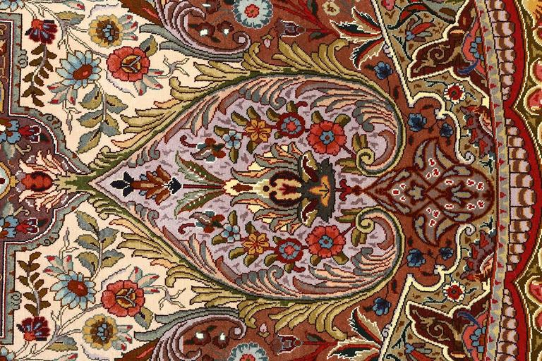 Oval Animal Motif Vintage Tabriz Persian Rug 5