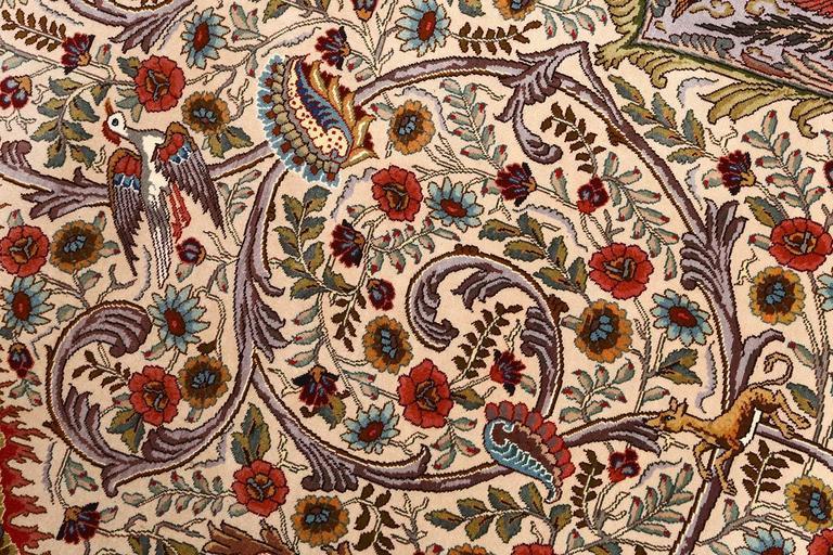 Oval Animal Motif Vintage Tabriz Persian Rug 6