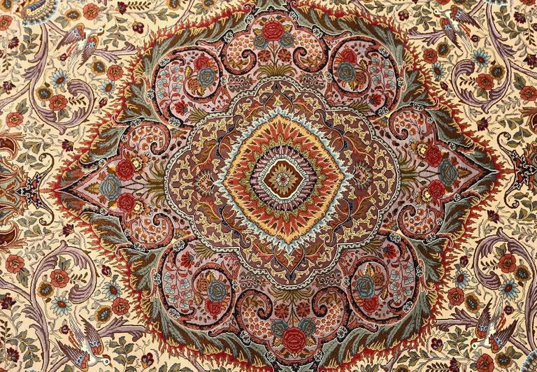 Oval Animal Motif Vintage Tabriz Persian Rug 8