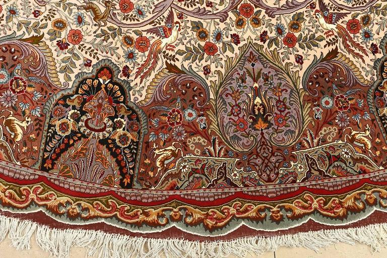 Oval Animal Motif Vintage Tabriz Persian Rug 9