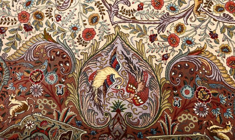 Oval Animal Motif Vintage Tabriz Persian Rug 10