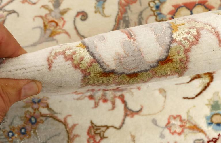 Large Ivory Vintage Tabriz Persian Rug 6