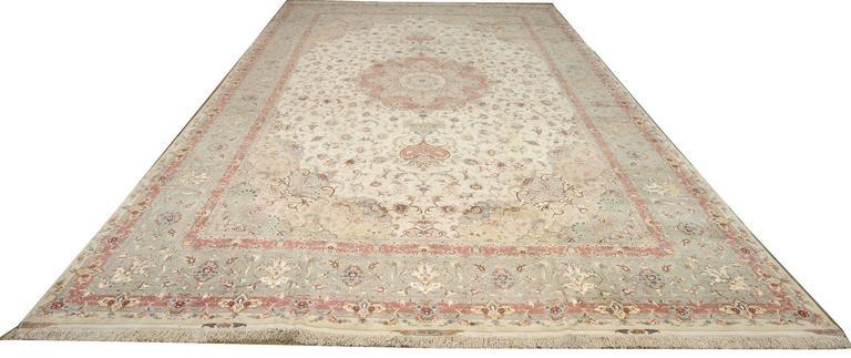 Large Ivory Vintage Tabriz Persian Rug For Sale 4