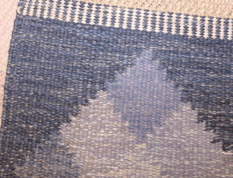 Hand-Knotted Vintage Swedish Kilim by Britta Swefors For Sale