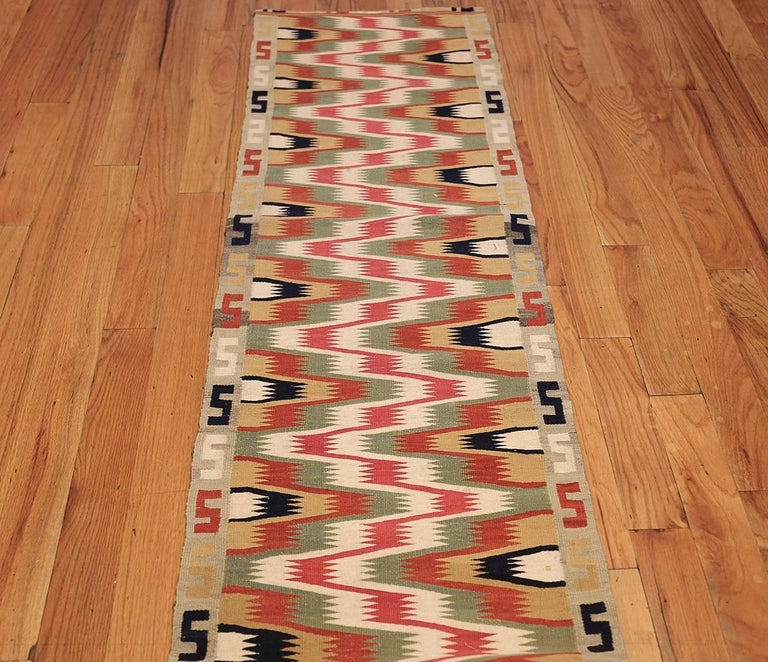 Hand-Woven Antique Scandinavian Swedish Kilim Runner. Size: 1 ft 9 in x 10 ft 9 in  For Sale