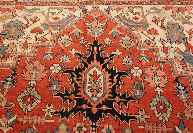 Hand-Knotted Large Oriental Antique Persian Heriz Serapi Rug For Sale