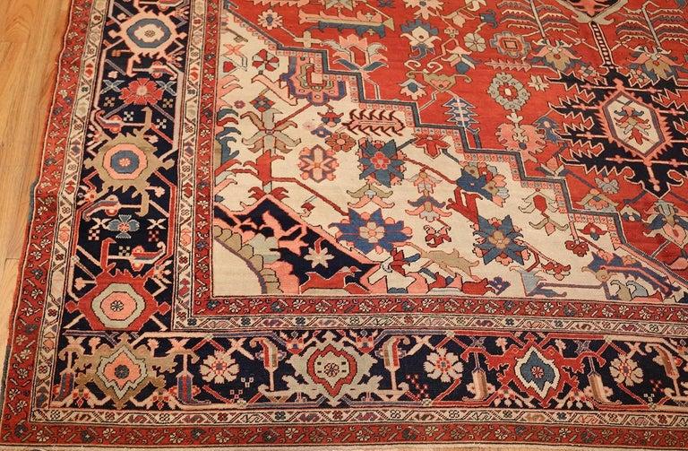20th Century Large Oriental Antique Persian Heriz Serapi Rug For Sale