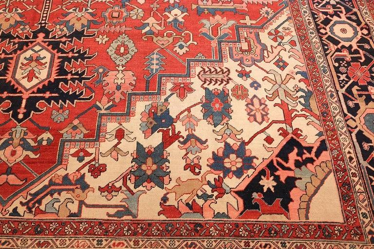 Large Oriental Antique Persian Heriz Serapi Rug For Sale 1