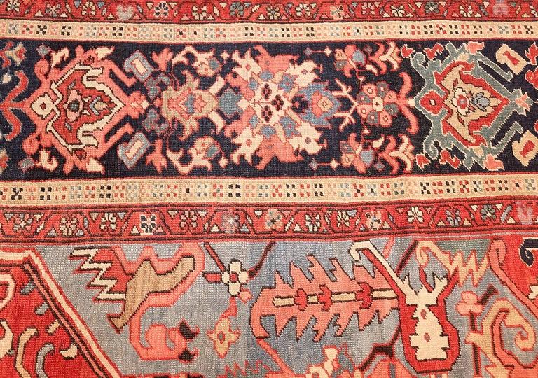 Large Oriental Antique Persian Serapi Heriz Rug For Sale 2
