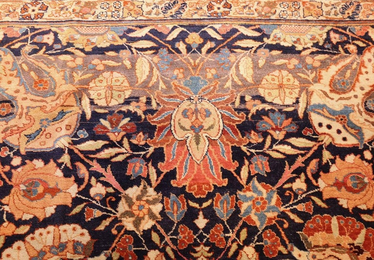 20th Century Large Oversized Navy Blue Antique Persian Tabriz Rug For Sale